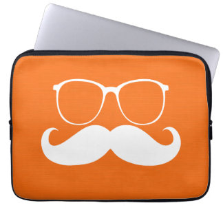 Funny White Mustache Glasses on Orange Background Computer Sleeves