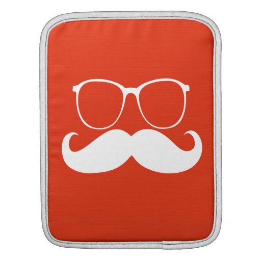 Funny  White Mustache Glasses on Orange Red Sleeves For iPads