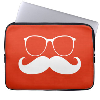 Funny White Mustache Glasses on Orange Red Laptop Sleeves