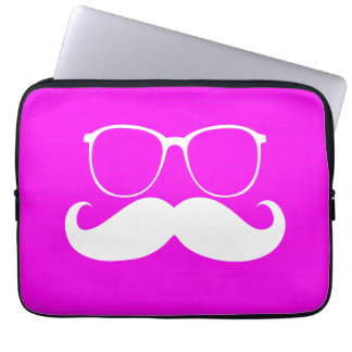 Funny White Mustache Glasses on Pink Background Computer Sleeves