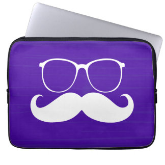 Funny White Mustache Glasses on Purple Background Laptop Sleeves