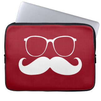 Funny White Mustache Glasses on Red Background Computer Sleeve