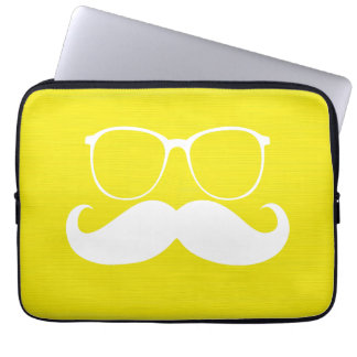 Funny White Mustache Glasses on Yellow Background Laptop Sleeves