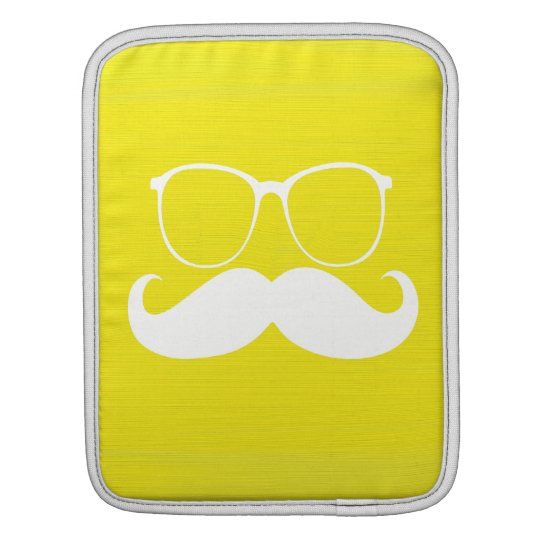 Funny  White Mustache Glasses on Yellow Background Sleeve For iPads