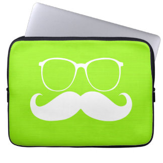 Funny White Mustache Glasses on Yellow Green Laptop Computer Sleeves
