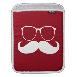 Funny  White Mustache Glasses Sleeves For iPads