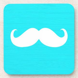 Funny White Mustache on Aqua Cyan Background Coaster