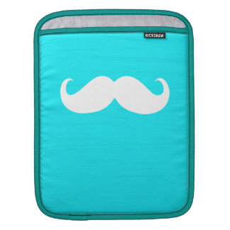 Funny White Mustache on Aqua Cyan Background Sleeve For iPads