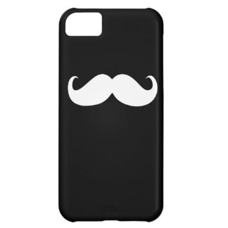 Funny White Mustache on Black Background Cover For iPhone 5C