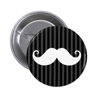 Funny white mustache on black gray striped pattern button
