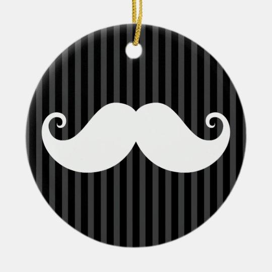 Funny white mustache on black gray striped pattern ceramic ornament