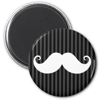 Funny white mustache on black gray striped pattern magnet