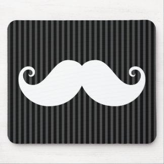 Funny white mustache on black gray striped pattern mouse pad