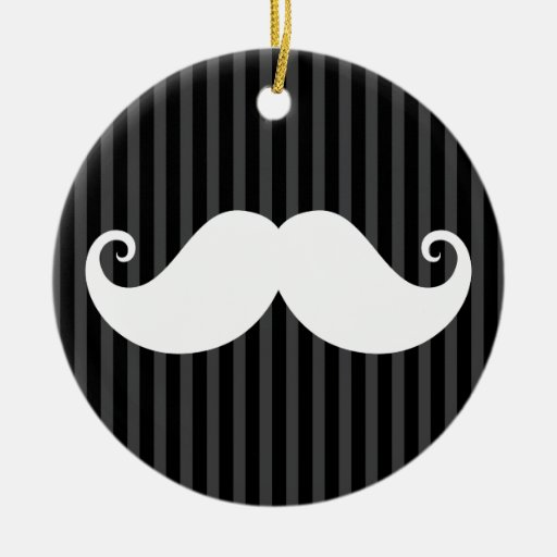 Funny white mustache on black gray striped pattern christmas ornament