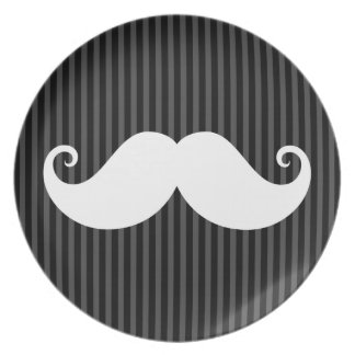 Funny white mustache on black gray striped pattern dinner plates
