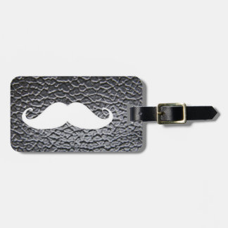 Funny White Mustache On Black Leather Pattern Bag Tag