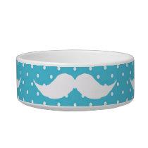 Funny White Mustache On Blue Polka Dots Pattern Bowl