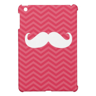 Funny White Mustache on Chevron Stripes Pattern iPad Mini Cover