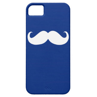 Funny White Mustache on Dark Blue Background iPhone SE/5/5s Case