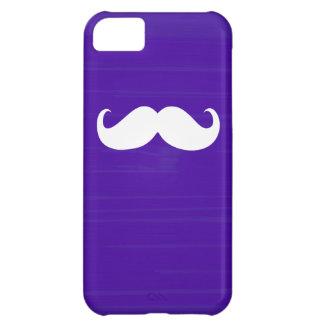 Funny White Mustache on Dark Purple Background iPhone 5C Cover