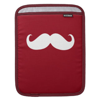 Funny White Mustache on Dark Red Background iPad Sleeve