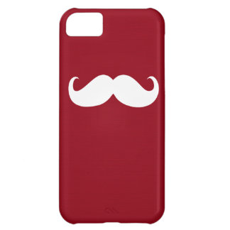 Funny White Mustache on Dark Red Background iPhone 5C Cover