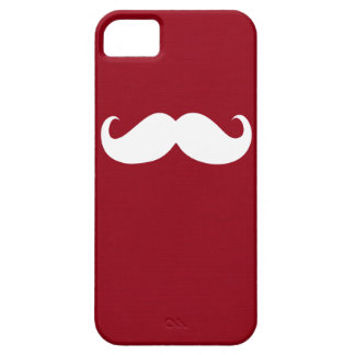 Funny White Mustache on Dark Red Background iPhone SE/5/5s Case