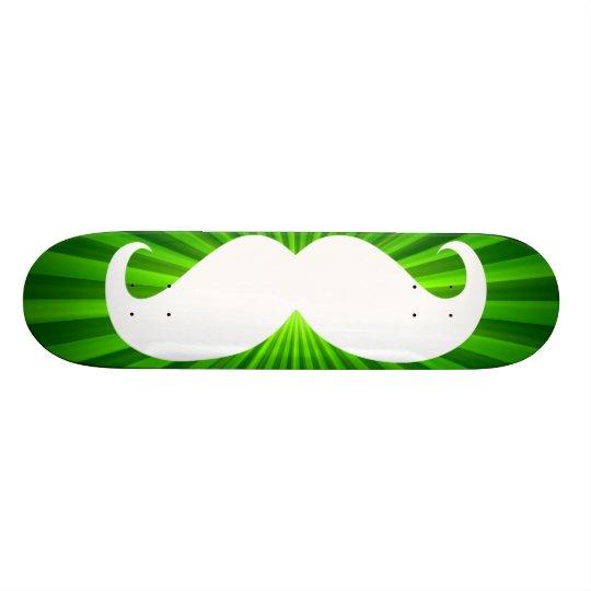 Funny white mustache on green background 2 skateboard