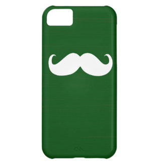 Funny White Mustache on Green Background iPhone 5C Case