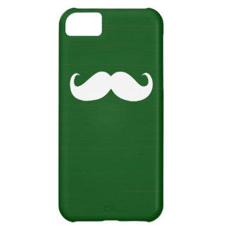 Funny White Mustache on Green Background iPhone 5C Cover
