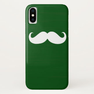 Funny White Mustache on Green Background iPhone X Case
