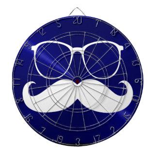 Funny White Mustache on Metal Blue Background Dart Board