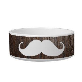 Funny White Mustache on oak wood background Bowl