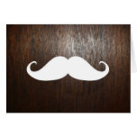 Funny White Mustache on oak wood background Cards