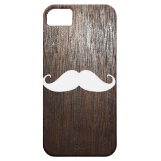 Funny White Mustache on oak wood background iPhone 5 Case