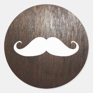 Funny White Mustache on oak wood background Classic Round Sticker