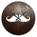 Funny White Mustache on oak wood background Round Wall Clocks