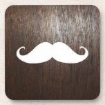Funny White Mustache on oak wood background Drink Coaster