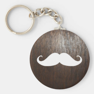 Funny White Mustache on oak wood background Keychain