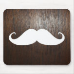 Funny White Mustache on oak wood background Mouse Pad