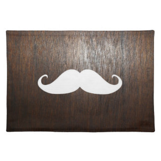 Funny White Mustache on oak wood background Placemat