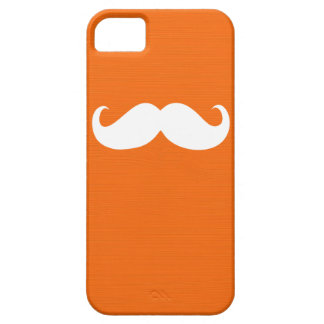 Funny White Mustache on Orange Background iPhone SE/5/5s Case