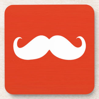 Funny White Mustache on Orange Red Background Drink Coaster