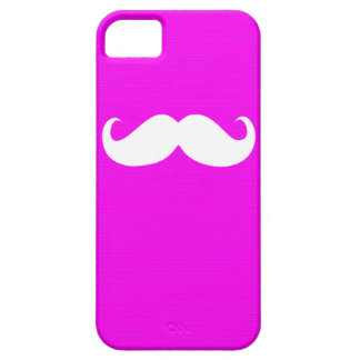 Funny White Mustache on Pink Background iPhone SE/5/5s Case