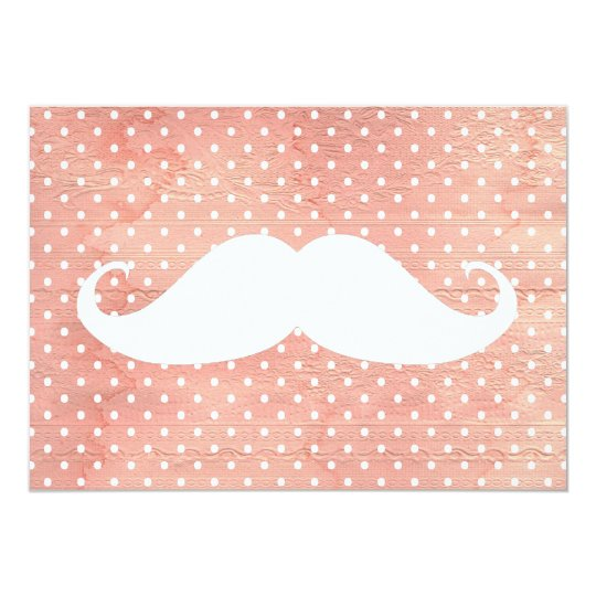 Funny White Mustache On Pink Polka Dots Pattern Card