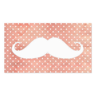 Funny White Mustache On Pink Polka Dots Pattern Double-Sided Standard Business Cards (Pack Of 100)