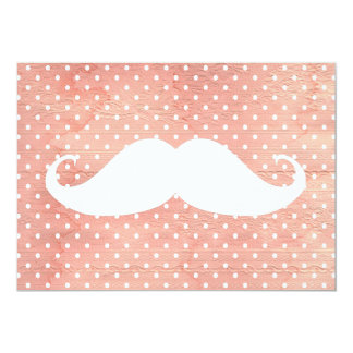 Funny White Mustache On Pink Polka Dots Pattern 5x7 Paper Invitation Card