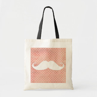 Funny White Mustache On Pink Polka Dots Pattern Tote Bag