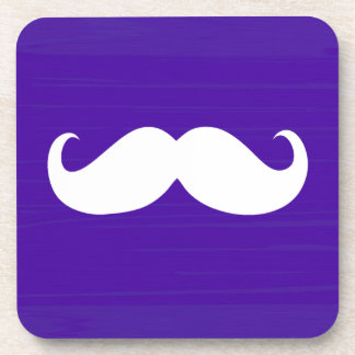 Funny White Mustache on Purple Background Drink Coaster