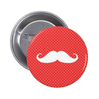 Funny White Mustache On Red Polka Dots 2 Inch Round Button
